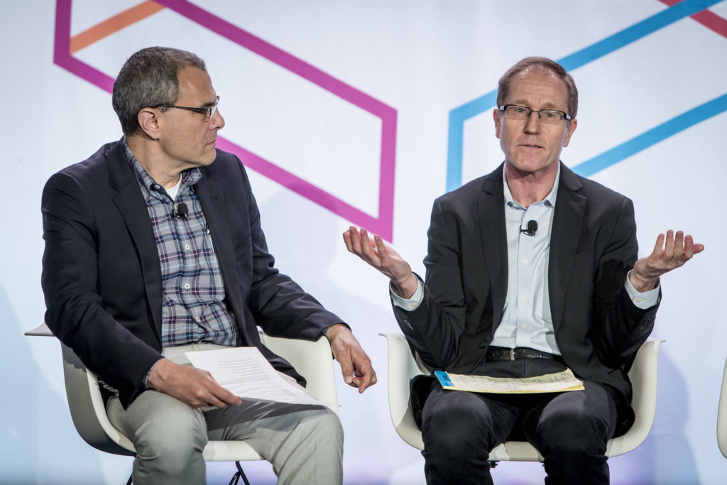 "Steve Lohr, Technology Reporter, Alex MacCallum, Assitant Editor, Michael Zimbalist, SVP, Advertising Products and Research and Development, participate in the ""The New York Times on Big Data and Publishing "" session on the YP Stage on Day 2 of Internet Week New York May 19, 2015. INSIDER IMAGES/Gary He"