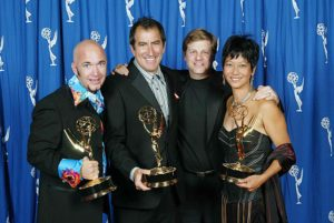 Eric Schwartzman with clients Doug Jack, Kenny Ortega and Sarah Kawahara at the Emmy Awards