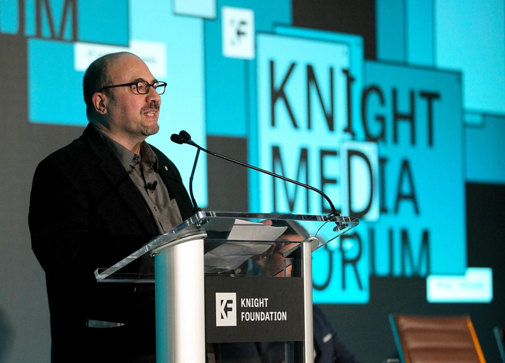 FEBRUARY 26, 2019, MIAMI, FLORIDA:.Craig Newmark, Craig Newmark Philantropies & Craiglist, during the 2019 Knight Foundation Media Forum at the JW Marriott Marquis during a break..(Photo by Patrick Farrell)