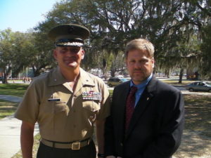 Eric Schwartzman with USMC Brigadier General Frederick Padilla