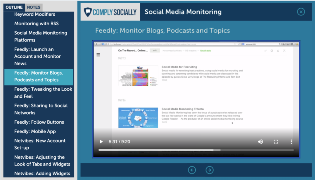 My free social media monitoring course with a Feedly video tutorial, available at https://socialmediatraining.com/social-media-monitoring-course/