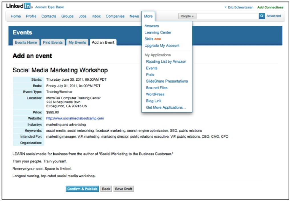 B2B event marketing on Linkedin