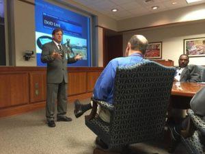 Eric Schwartzman briefing at Fort Lee